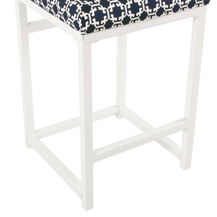 "24"" Open Back Metal Counter Stool - Indigo and White Lattice"
