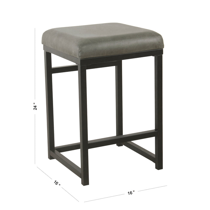 "24"" Open Back Metal Counter Stool - Gray Faux Leather"