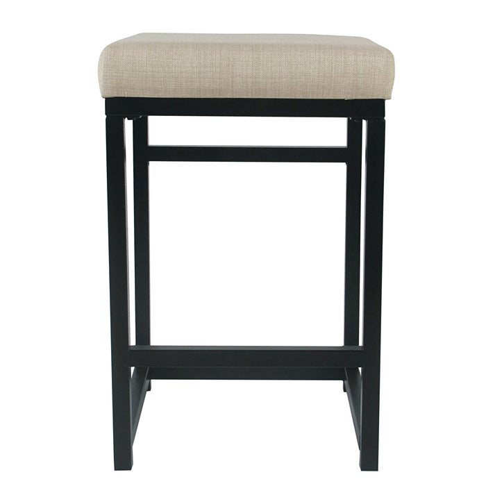 "24"" Open Back Metal Counter Stool - Natural Woven"