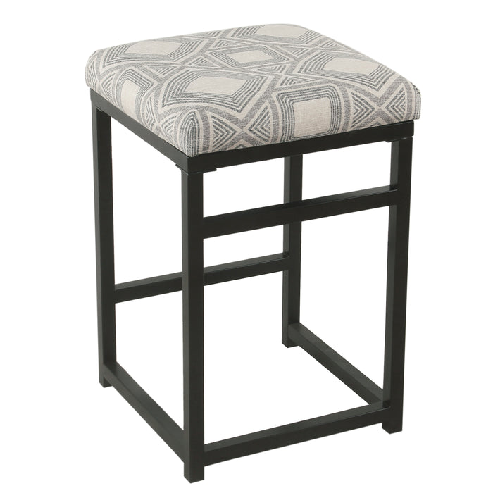 "24"" Open Back Metal Counter Stool - Charcoal Geometric"
