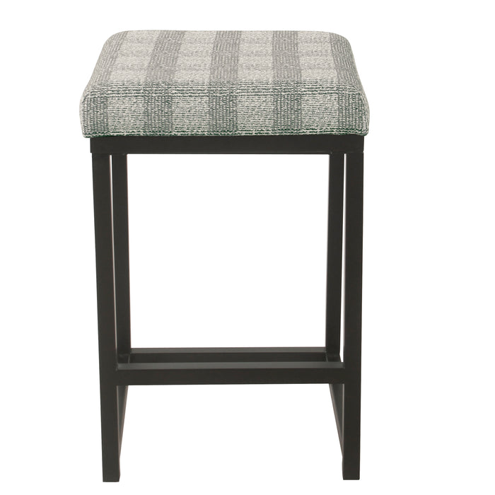 "24"" Open Back Counter Stool Light Gray Plaid"