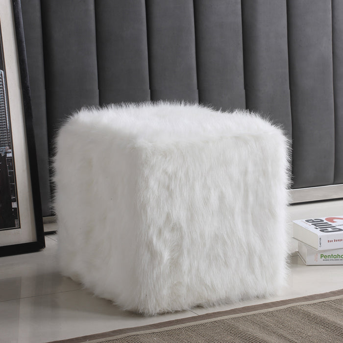 Faux Fur Pouf - White
