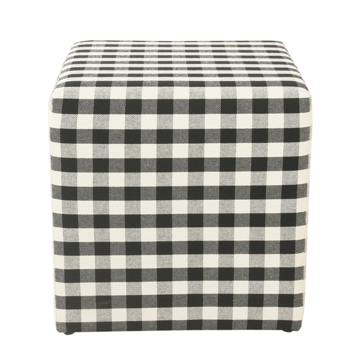 Small Square Ottoman - Mini Black Plaid