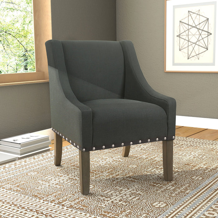 Modern Swoop Accent Chair with Nailhead Trim - Dark Charcoal