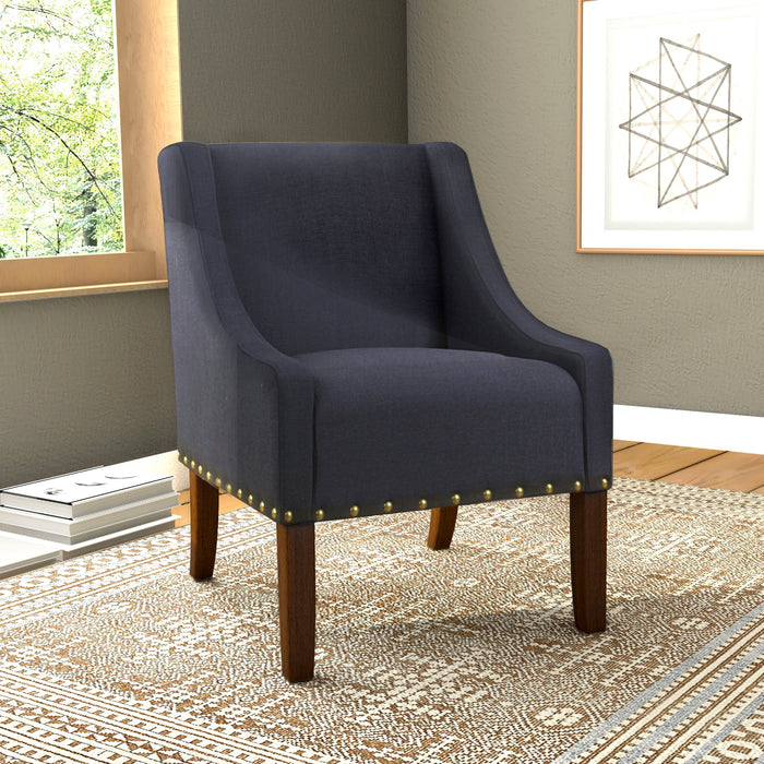 Modern Swoop Accent Chair with Nailhead Trim - Deep Navy