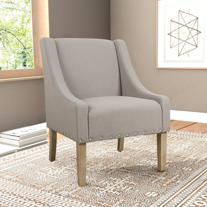 Modern Swoop Accent Chair with Nailhead Trim - Tan