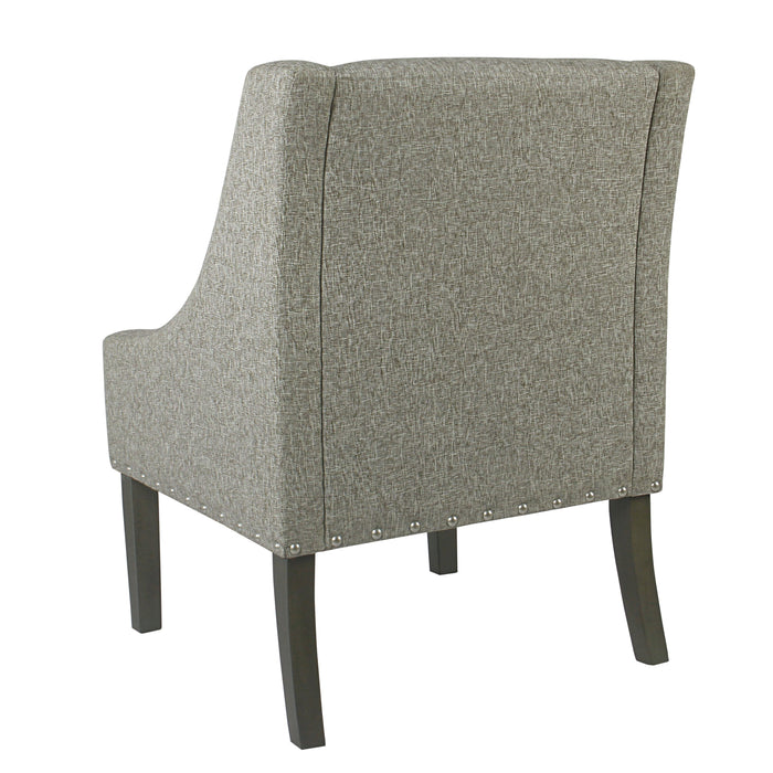 Modern Swoop Accent Chair with Nailhead Trim - Sterling Grey
