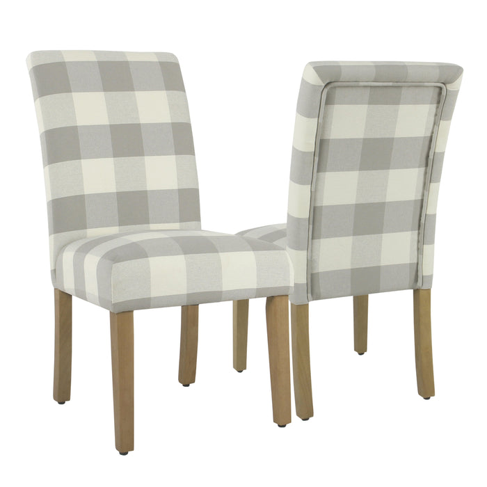 Parsons Dining Chair - Grey Plaid - Set of 2