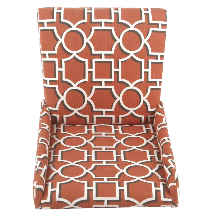 Modern Wingback Dining Chair - Persimmon Lattice - Set of 2