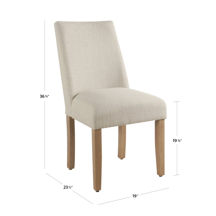 Modern Curved Back Dining Chair - Stain Resistant Textured Linen