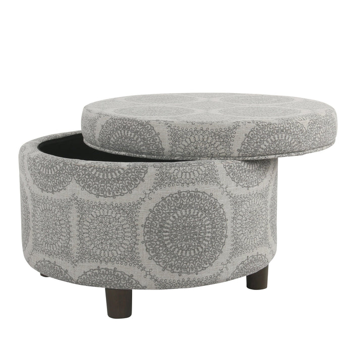 Round Storage Ottoman - Grey Medallion