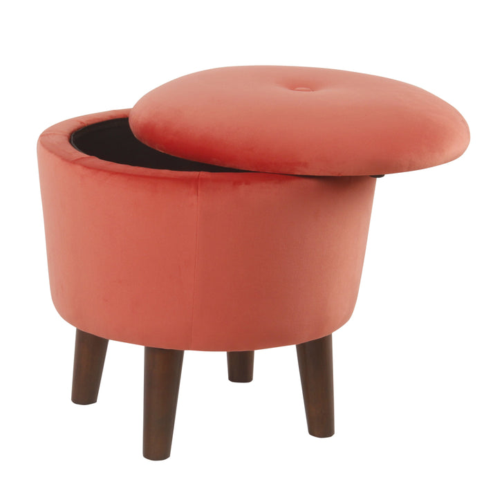Modern Round Velvet Tufted Storage Ottoman - Persimmon Orange