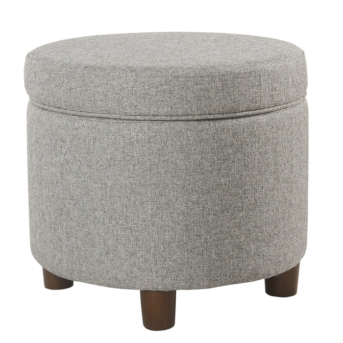 Round Storage Ottoman - Light Gray Tweed
