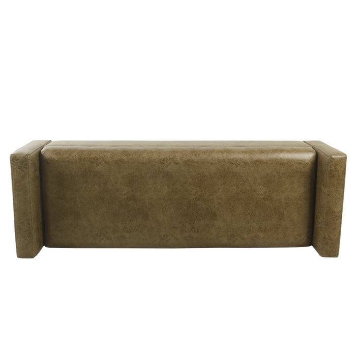 Modern Storage Bench - Distressed Brown Faux Leather