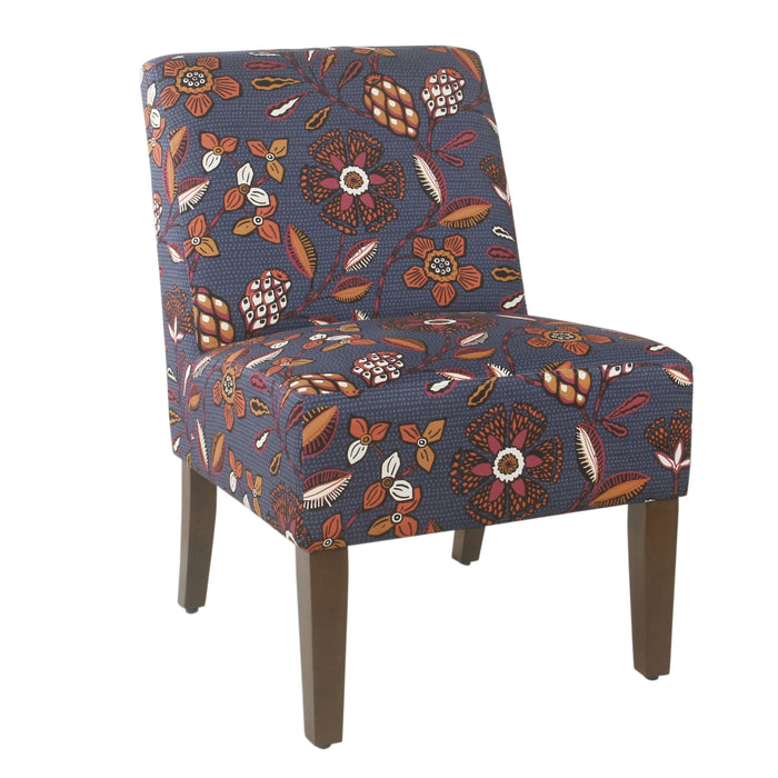 Armless Dining Accent Chair - Navy Blue and Pink Floral