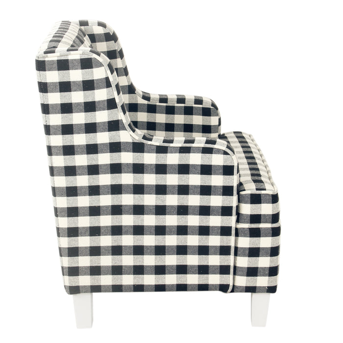 Kid's Tufted Wingback Chair - Mini Black Plaid