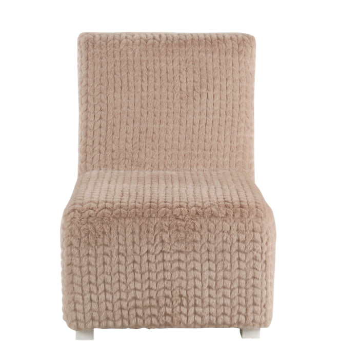 Kid's Cushioned Slipper Chair- Textured Pink Faux Fur