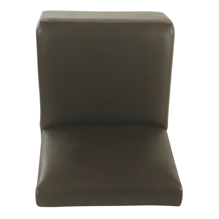 Kid's Cushioned Slipper Chair- Brown Faux Leather