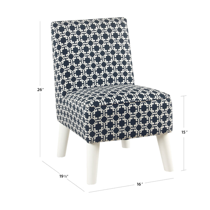 Kid's Modern Slipper Chair- Indigo and White Lattice