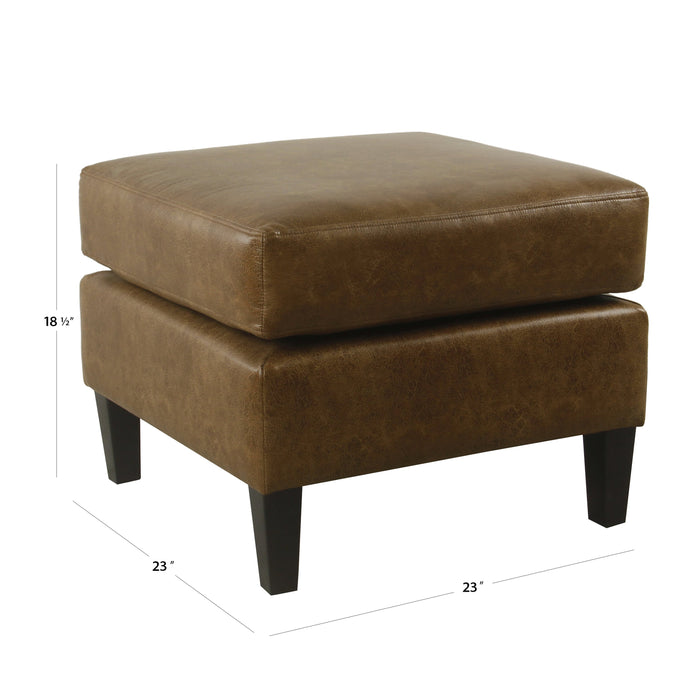 Large Pillowtop Ottoman - Distressed Brown Faux Leather