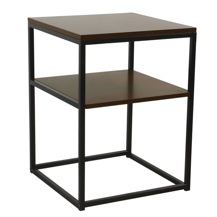 Square Wood and Metal Accent Table with Shelf Storage - Dark Walnut and Ebony