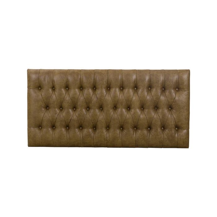 Large Bench with Button Tufting -Distressed Brown Faux Leather