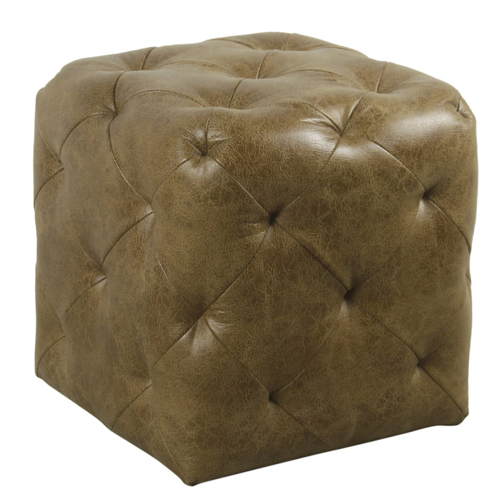 Small Pin-Tufted Ottoman - Distressed Brown Faux Leather