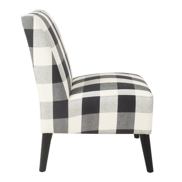Modern Armless Accent Chair - Black Plaid