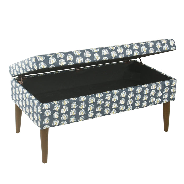 Mid-Century Storage Bench - Teal Floral