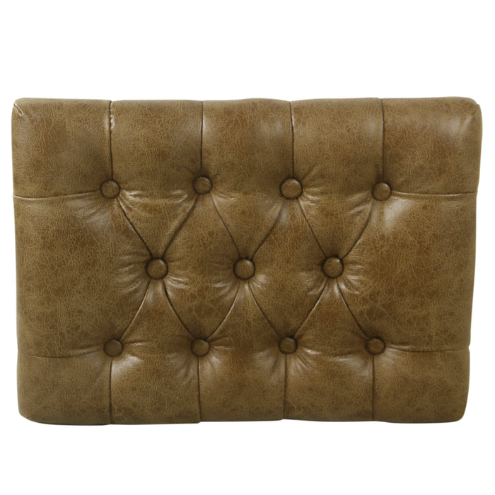 Small Decorative Ottoman - Distressed Brown Faux Leather