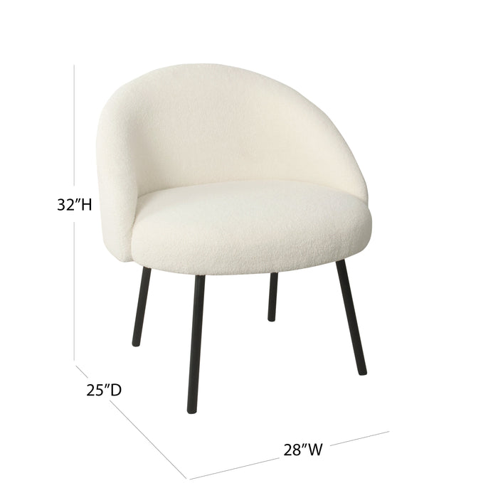 Modern  Sherpa Accent Chair - Cream