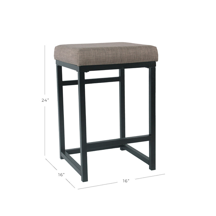 "24"" Open Back Metal Counter Stool - Brown Woven"