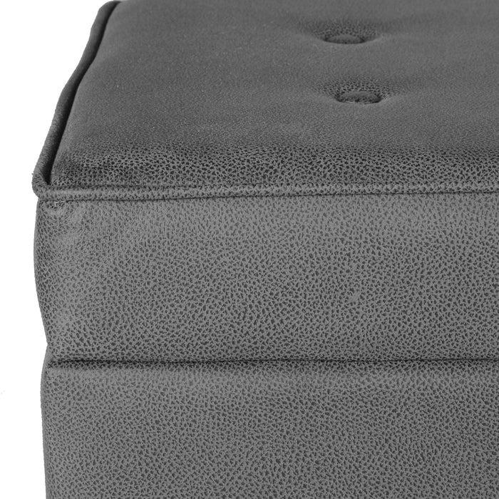 Large Faux Leather Tufted Storage Bench - Gray