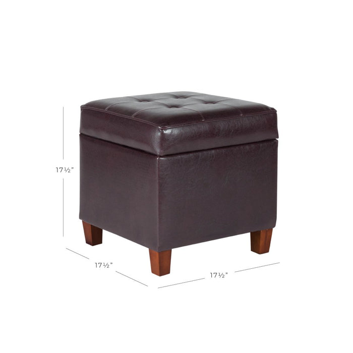 Square Tufted Faux Leather Storage Ottoman - Brown