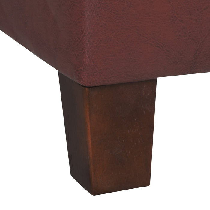Square Tufted Faux Leather Storage Ottoman - Dark Red