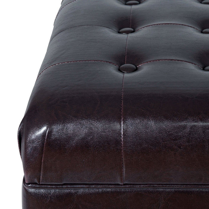 Large Faux Leather Tufted Storage Bench - Brown