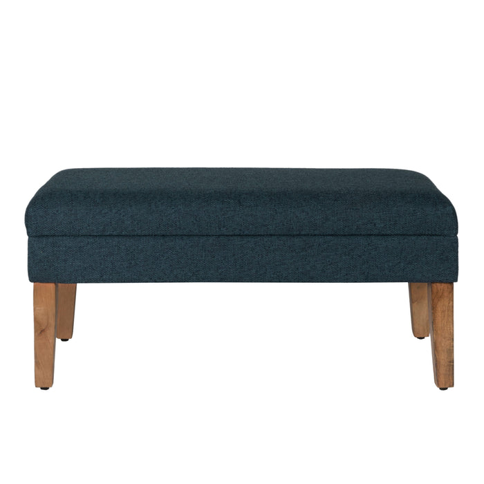 Decorative Storage Bench - Textured Navy Woven