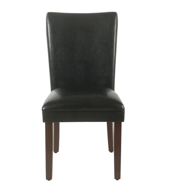 Parsons Deluxe Dining Chair - Black Faux Leather - Set of 2