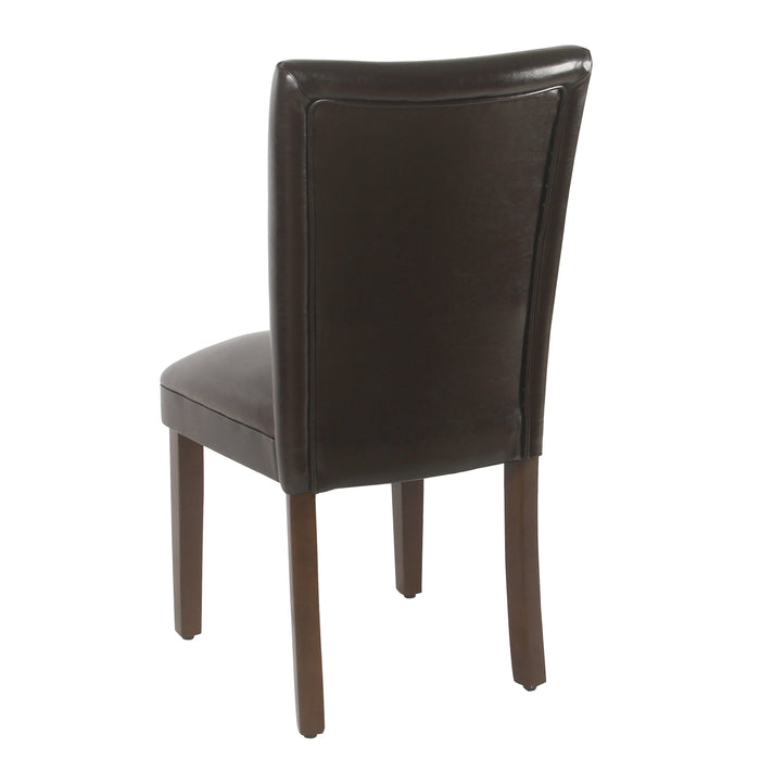 Parsons Deluxe Dining Chair - Brown Faux Leather - Set of 2