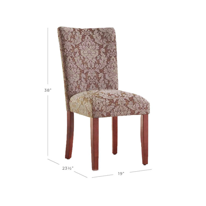 Parsons Deluxe Dining Chair - Blue and Brown Damask - Set of 2
