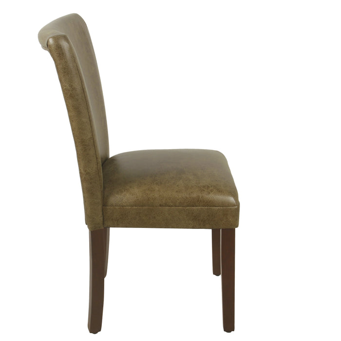 Parsons Deluxe Dining Chair - Distressed Brown Faux Leather - Set of 2