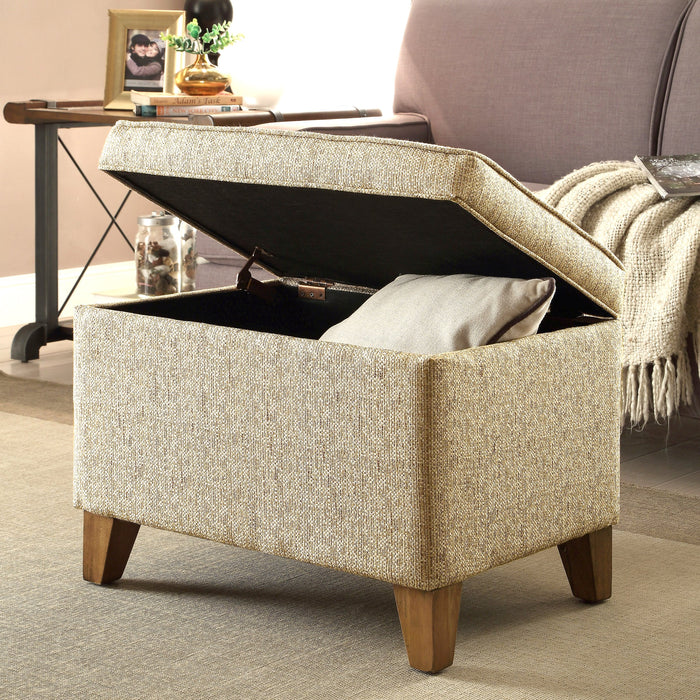Medium Storage ottoman - Cream Woven