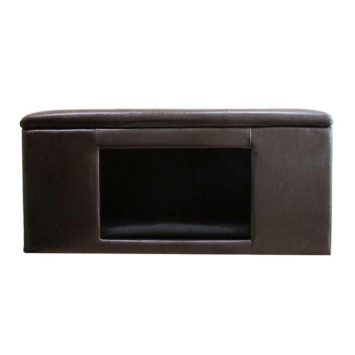 Luxury Pet Bed Bench - Brown Faux Leather