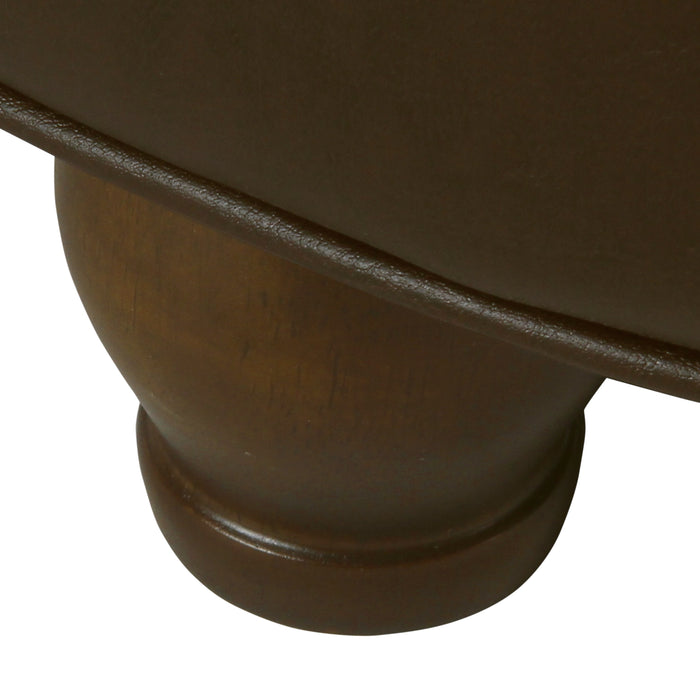 Large Tufted  Round Storage Ottoman - Brown Faux Leather