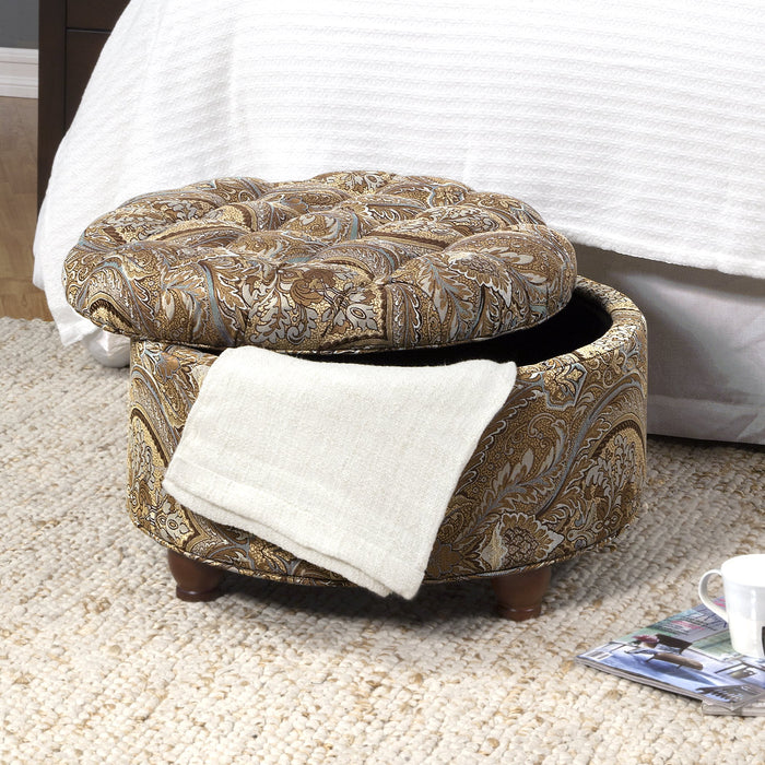 Large Tufted Round Storage Ottoman- Traditional Paisley