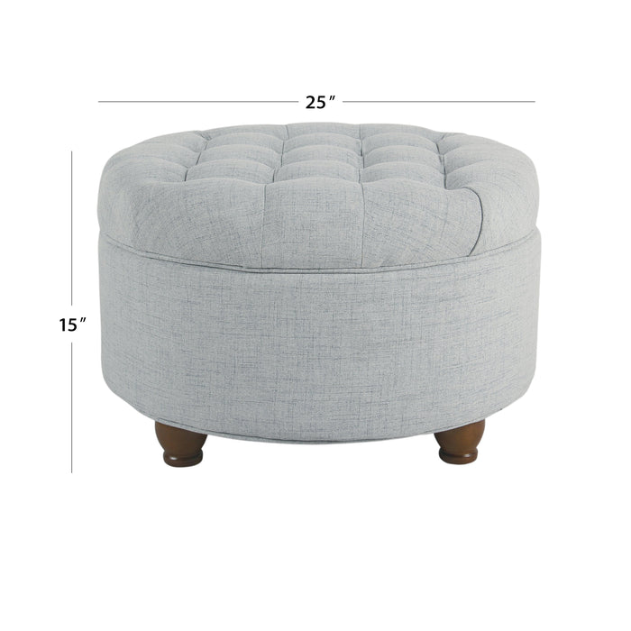 Large Tufted Round Storage Ottoman - Light Blue