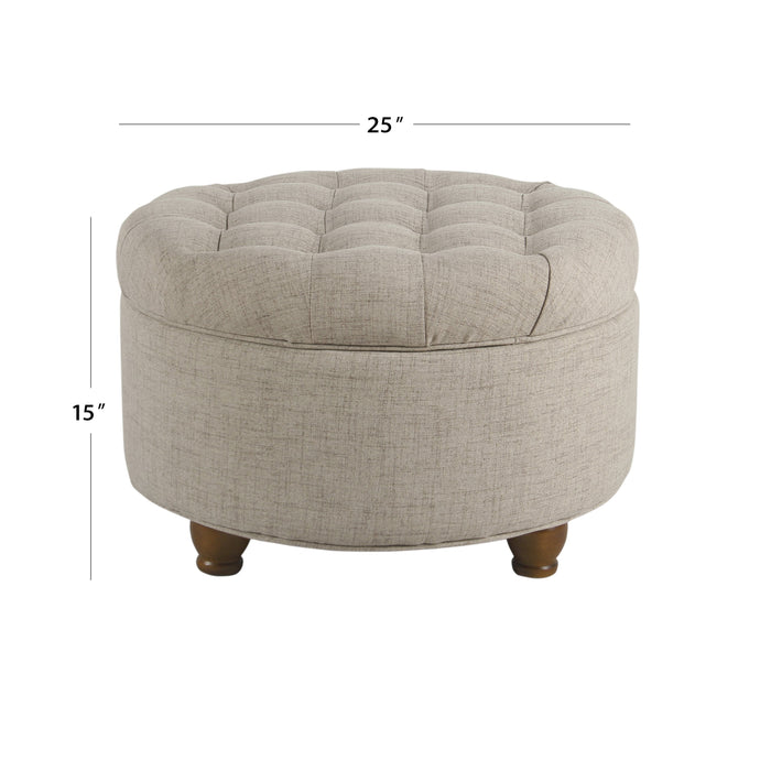 Large Tufted Round Storage Ottoman - Light Tan