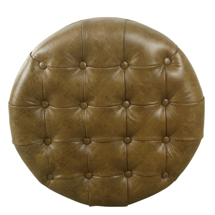 Large Tufted Round Storage Ottoman - Distressed Brown Faux Leather