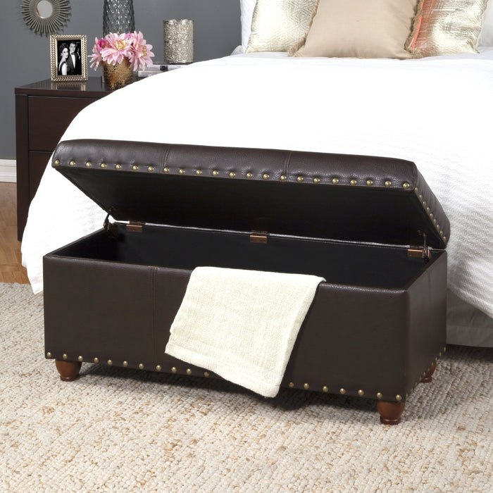 Storage Cocktail Bench - Brown Faux Leather