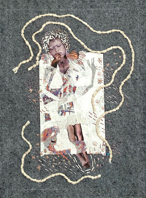 hand embroidered collage of dreaming woman floating on grey background